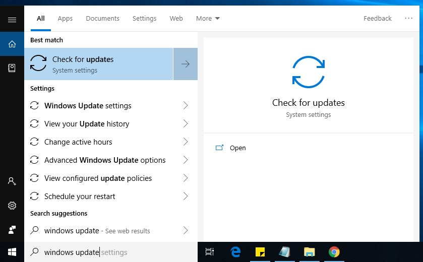 check for windows updates 1809