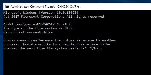 Run Check disk on Windows 10