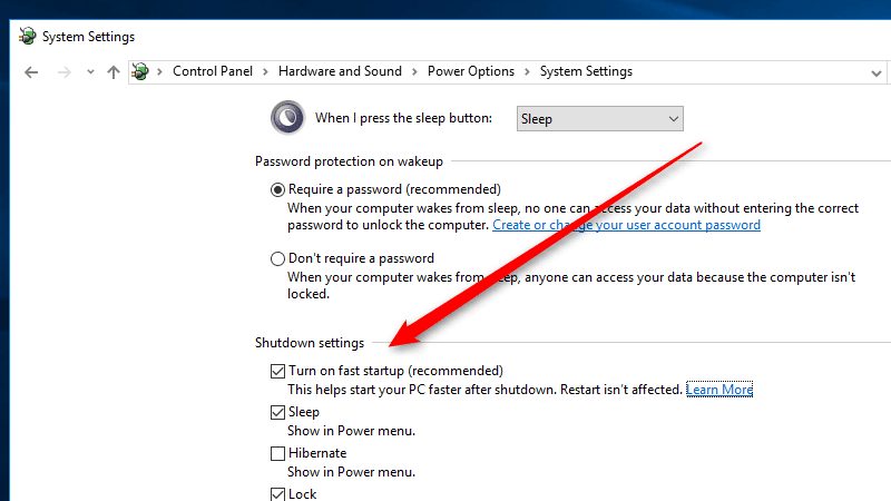 Enable Fast Startup Feature