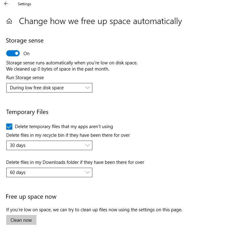 Change how we free up space automatically