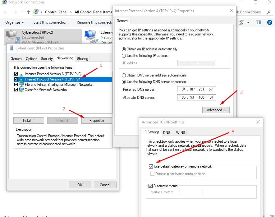 Use default gateway on remote network