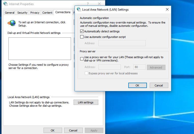 Disable Proxy Settings for LAN