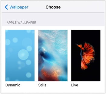 iPhone 6s - Wallpapers - Settings