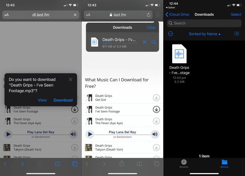 iOS 13 Safari Download Manager