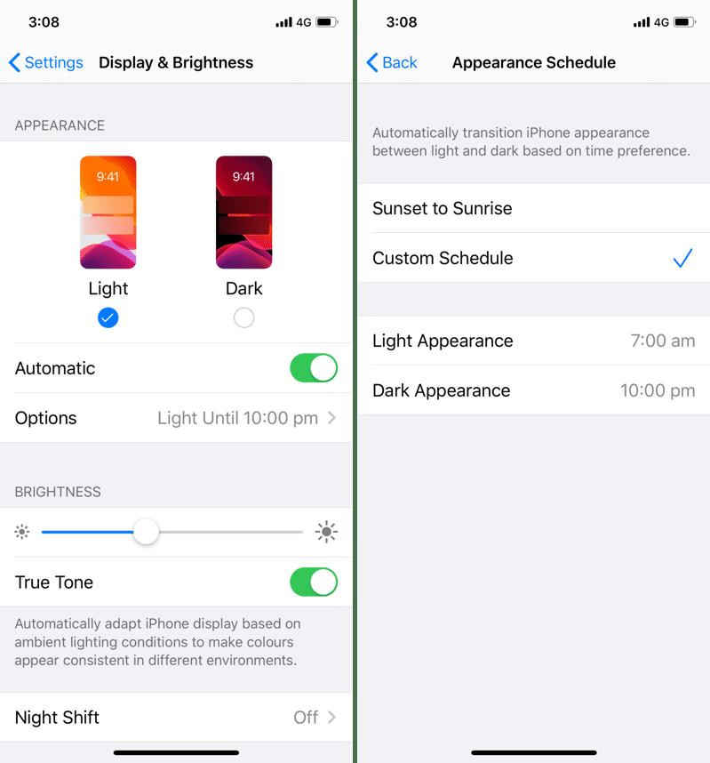 iOS 13 Dark Mode Enable