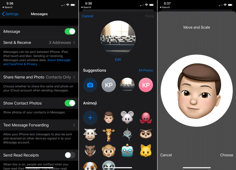 iOS 13 iMessage Custom Profiles 1