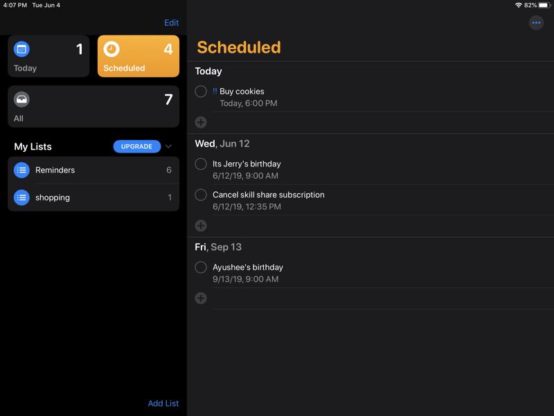 iPadOS 13 Reminders App