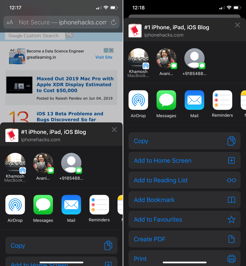 iOS 13 New Share Sheet Design