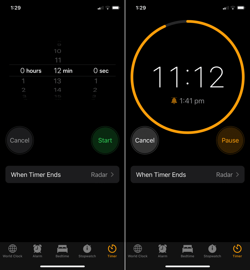 iOS 13 New Timer UI