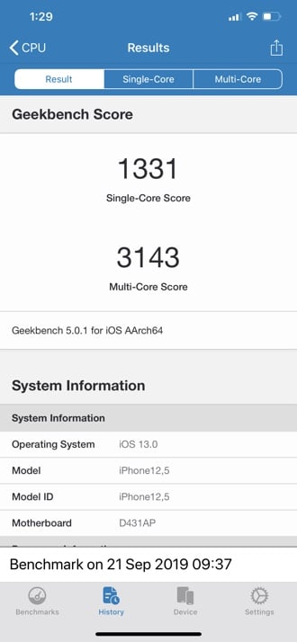 iPhone 11 Pro Max Geekbench 5 - Single-core & Multi-core score