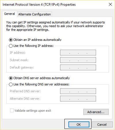 Obtain an IP address and DNS automatically